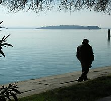 Out of season on the lakeside at Passignano sul Trasimeno, Umbria, central Italy by Philip Mitchell