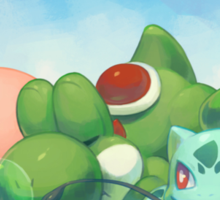 Kirby Yoshi & Bulbasaur Laying On The Grass Sticker