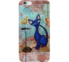Mid Century Modern Cat in Black and Blue digital version iPhone Case/Skin