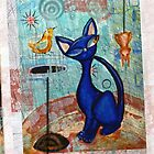 Mid Century Modern Cat in Black and Blue digital version by Alma Lee