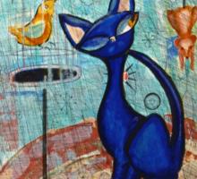 Mid Century Modern Cat in Black and Blue digital version Sticker
