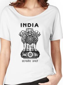 India Coat of Arms Women's Relaxed Fit T-Shirt