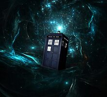 Flying Tardis on Space by EllieDahlena