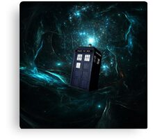 Flying Tardis on Space Canvas Print
