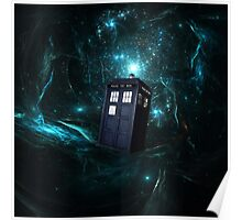 Flying Tardis on Space Poster