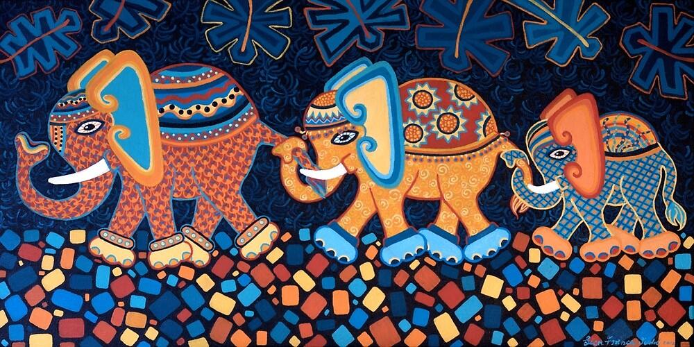 'Elephant Conga Line' - The Jungle is Jumping! by Lisafrancesjudd
