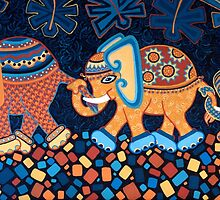 'Elephant Conga Line' - The Jungle is Jumping! by Lisa Frances Judd~QuirkyHappyArt