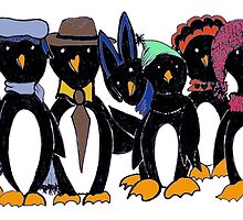 Penguin hat parade by Anne van Alkemade