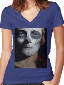 Jack Gleeson Day of the Dead, Dia de los Muertos, Makeup Women's Fitted V-Neck T-Shirt
