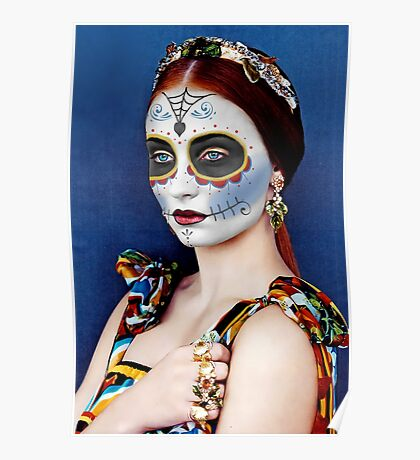 Sophie Turner Day of the Dead, Dia de los Muertos, Makeup Poster