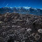 Owens Valley Petroglyphs by Moonlight by Nolan Nitschke