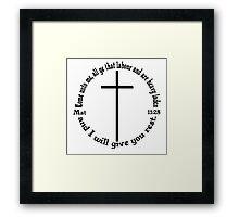 MATTHEW 11:28 circular Framed Print