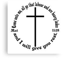 MATTHEW 11:28 circular Canvas Print