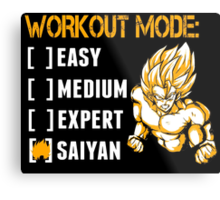 Workout Mode Easy Medium Expert Saiyan - Funny Tshirts Metal Print