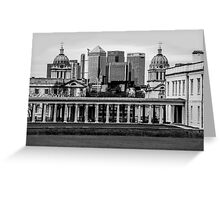 Old Royal Naval College, Greenwich set against Canary Wharf, London Greeting Card