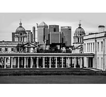 Old Royal Naval College, Greenwich set against Canary Wharf, London Photographic Print
