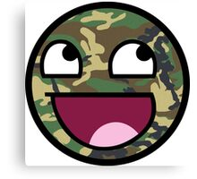 Awesome Camouflage MEME Face - Camo texture Canvas Print