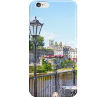 antique street lamp and cafe view of kilkenny castle iPhone Case/Skin