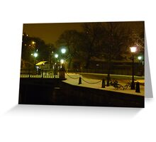 City in Snow and Darkness Greeting Card
