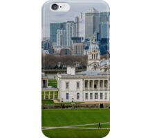 Canary Wharf set against the Old Naval College in Greenwich, London, viewed from the Observatory iPhone Case/Skin