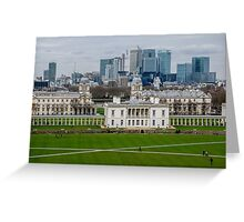Canary Wharf set against the Old Naval College in Greenwich, London, viewed from the Observatory Greeting Card