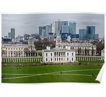 Canary Wharf set against the Old Naval College in Greenwich, London, viewed from the Observatory Poster