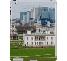 Canary Wharf set against the Old Naval College in Greenwich, London, viewed from the Observatory iPad Case/Skin