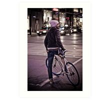 Downtown Cyclist Art Print