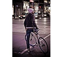 Downtown Cyclist Photographic Print