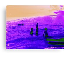 Abstract kids playing in the water Canvas Print