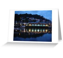 Looe harbour at night Cornwall Greeting Card