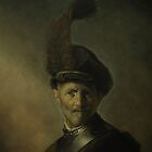 An Old Man in Military Costume by Rembrandt  by Zoran Kudra