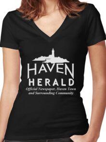 Haven Herald News White Logo Women's Fitted V-Neck T-Shirt