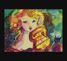 VIOLINIST GIRL ,VIOLIN  AND CAT  One Piece - Long Sleeve