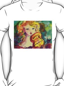 VIOLINIST GIRL ,VIOLIN  AND CAT  T-Shirt