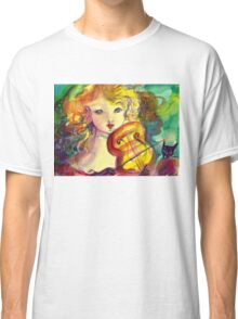 VIOLINIST GIRL ,VIOLIN  AND CAT  Classic T-Shirt