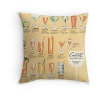 Mid Century Cocktail Suggestions Vintage Design Throw Pillow