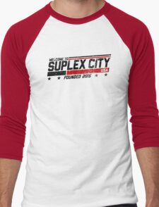 SUPLEX CITY, USA - Black Men's Baseball ¾ T-Shirt