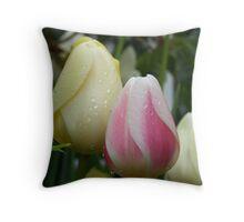 Pink & Yellow Tulips Throw Pillow