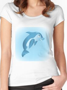 Cute hand drawn blue dolphin. Women's Fitted Scoop T-Shirt