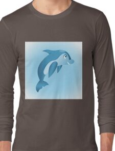 Cute hand drawn blue dolphin. Long Sleeve T-Shirt