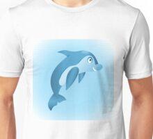 Cute hand drawn blue dolphin. Unisex T-Shirt