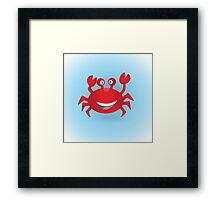 Cute hand drawn red crab. Tropical sea life design. Framed Print