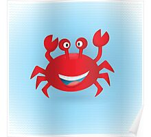 Cute hand drawn red crab. Tropical sea life design. Poster