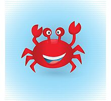 Cute hand drawn red crab. Tropical sea life design. Photographic Print
