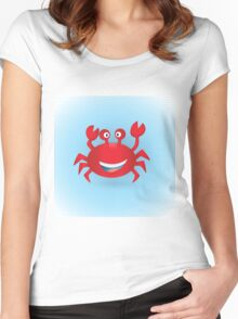 Cute hand drawn red crab. Tropical sea life design. Women's Fitted Scoop T-Shirt