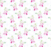 Fuchsia flowers seamless floral pattern on light white by fuzzyfox
