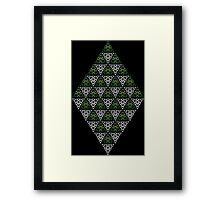 Modern - Triangles of Silver and Green Framed Print