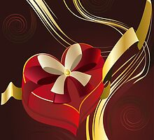 Brown Background with Heart Shaped Box by AnnArtshock