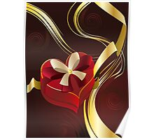 Brown Background with Heart Shaped Box Poster